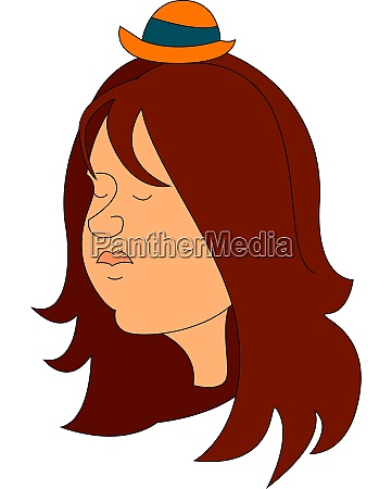 girl wearing a small hat illustration