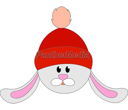 bunny with red hat illustration vector