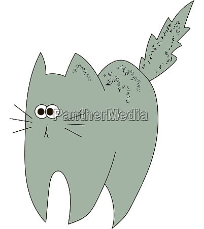 scared grey cat illustration vector on