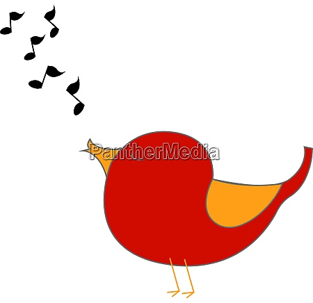 red singing bird illustration vector on