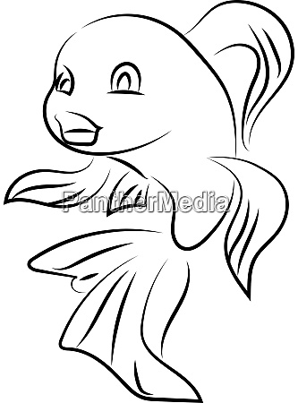 fish in water drawing illustration vector