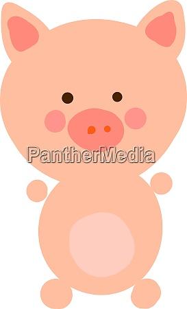 happy little pig illustration vector on