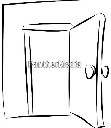 open door drawing illustration vector on