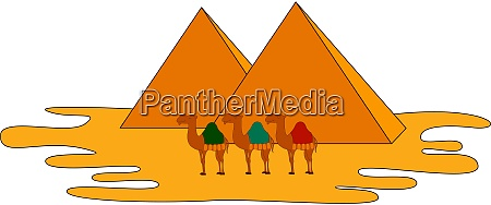 camels and pyramids illustration vector on