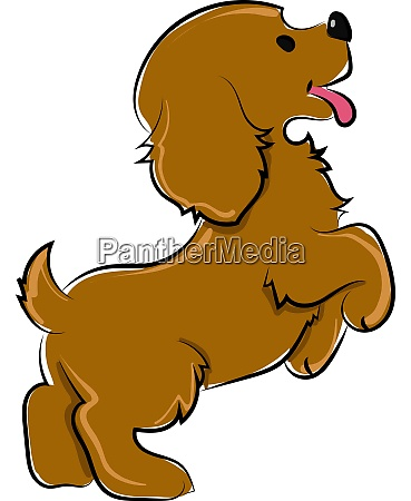 little cute brown dog illustration vector