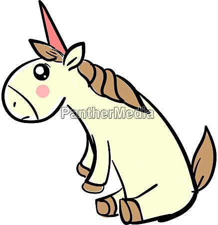 sad unicorn illustration vector on white