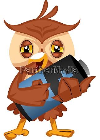 owl holding battery illustration vector on
