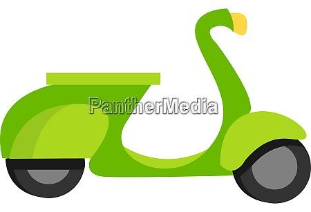 green moped illustration vector on white