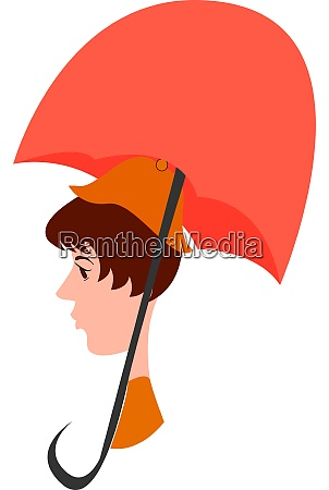 girl with umbrella illustration vector on