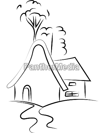 drawing of a house illustration vector