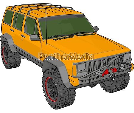 yellow jeep cherokee illustration vector on