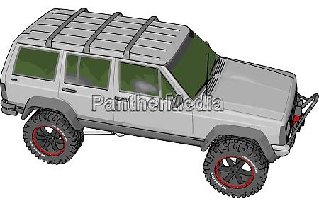 white jeep cherokee illustration vector on