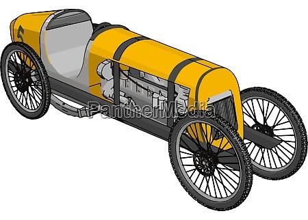 yellow antique car illustration vector on