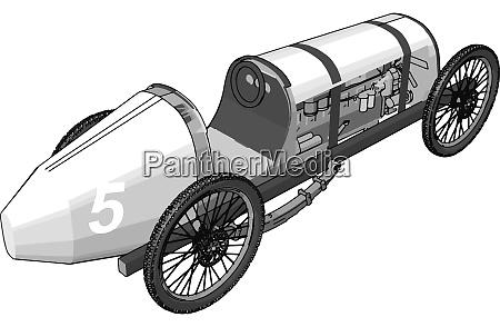 white antique car illustration vector on