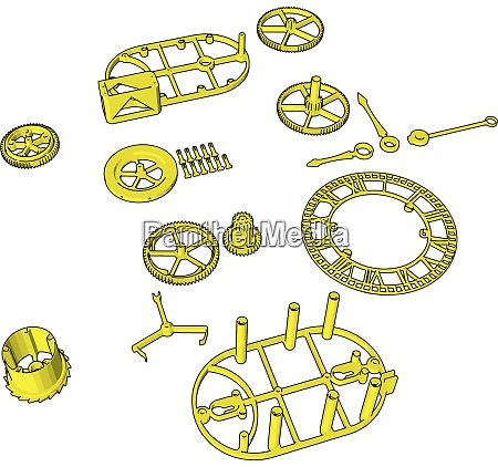 yellow disassembled pieces illustration vector on