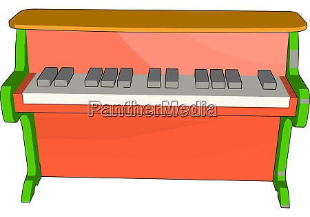 red piano toy illustration vector on
