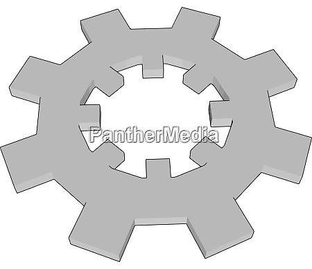 white gear illustration vector on white