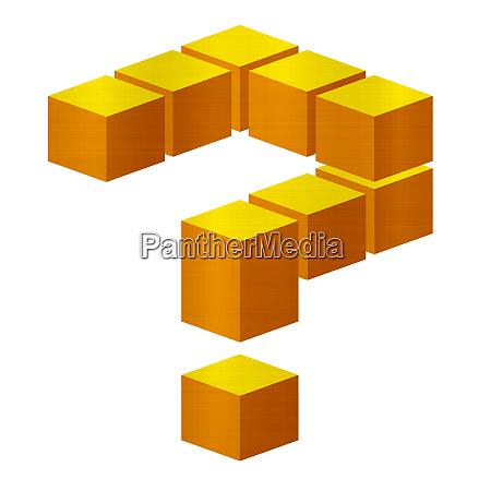 question blocks metallic golden cubes illustration