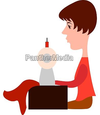 dressmaker illustration vector on white background