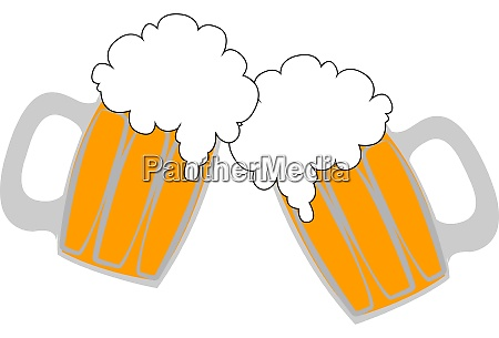 beers in glass illustration vector on