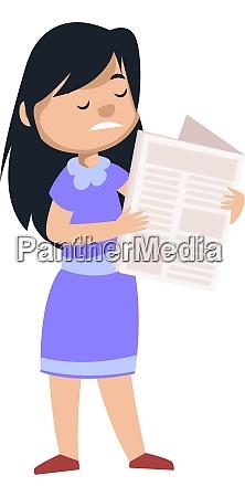 girl reading newspaper illustration vector on