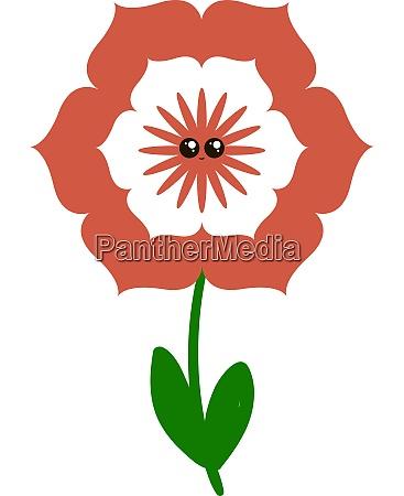 cute red flower illustration vector on