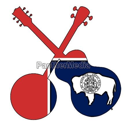 wyoming state flag banjo and guitar