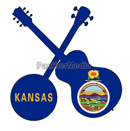 kansas state flag banjo and guitar