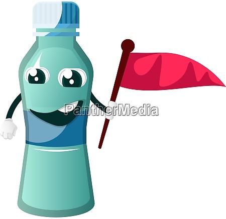 bottle is holding flag illustration vector