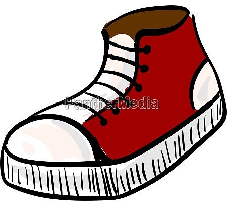 red sneaker illustration vector on white