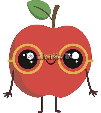 nerd apple illustration vector on white