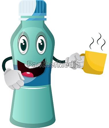 bottle is holding mug illustration vector