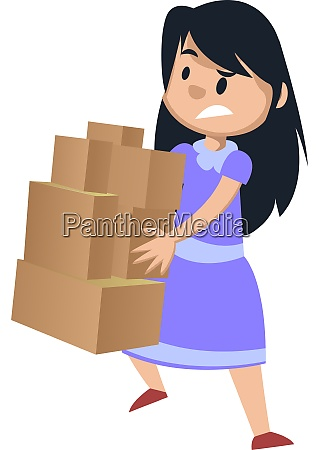 girl holding boxes illustration vector on