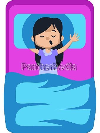 girl sleeping in bed illustration vector