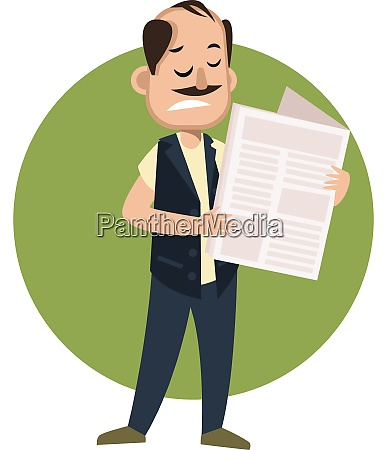 man reading newspaper illustration vector on