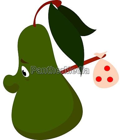 sad pear illustration vector on white
