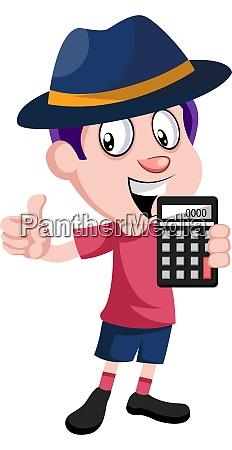 boy holding calculator illustration vector on