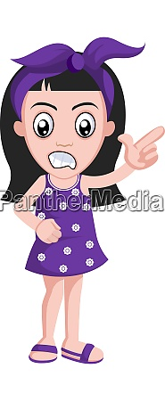 girl is pointign with fingers illustration
