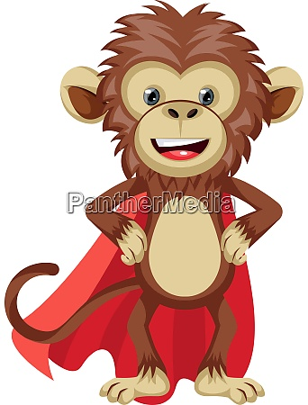 monkey with red cape illustration vector