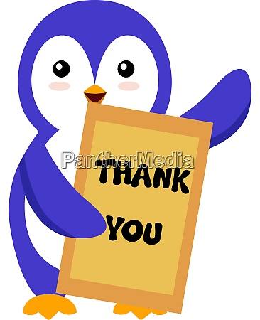 penguin with thank you sign illustration