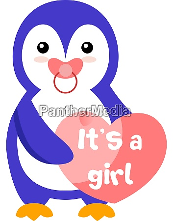 penguin girl illustration vector on white
