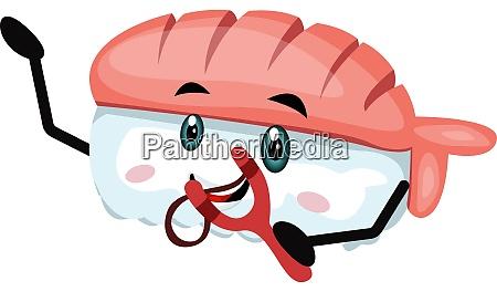 sushi with spring shot illustration vector