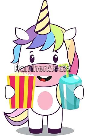 unicorn with popcorn illustration vector on
