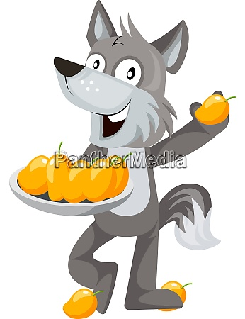 wolf with mangos illustration vector on