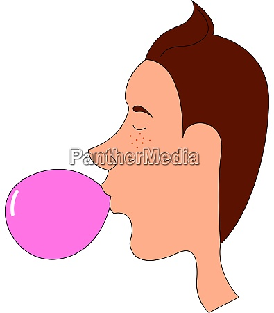 boy chewing gum illustration vector on