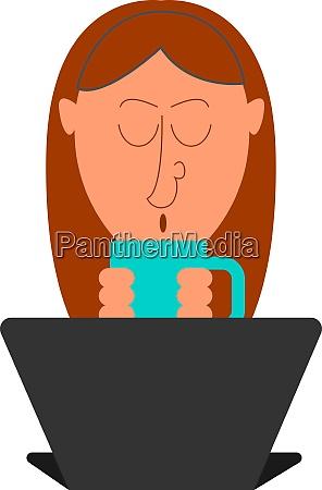girl drinking tea illustration vector on