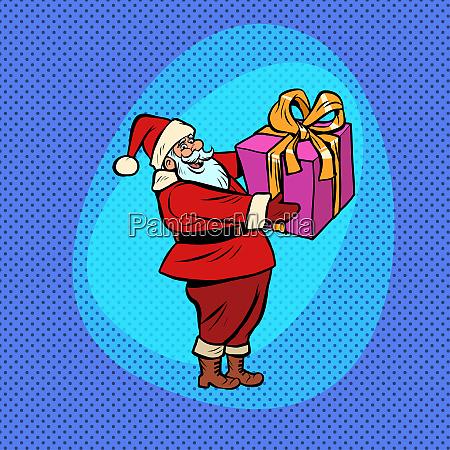 santa claus with gift box comic