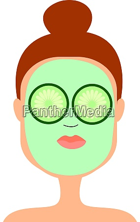 cucumber mask on girl illustration vector