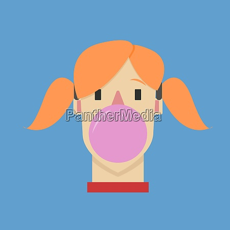 girl chewing gum illustration vector on