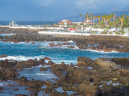 view over the rocky shore at
